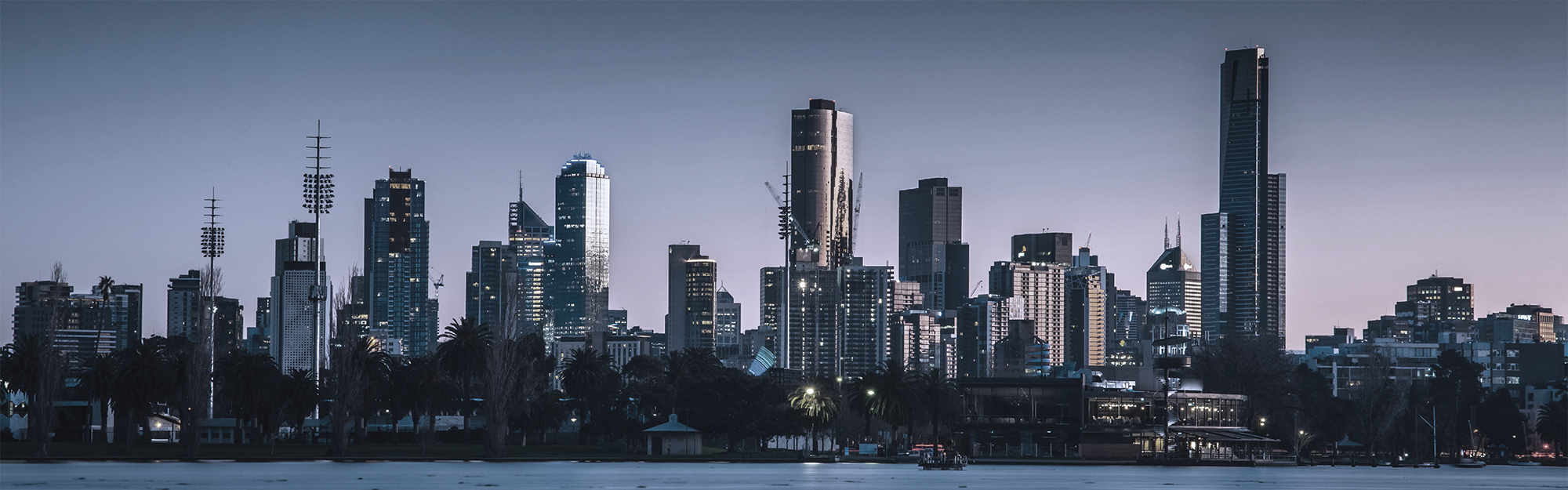 Melbourne skyline in evening