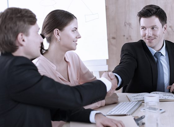 Couple meeting with lawyer